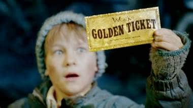 Golden Ticket for Charlie and The Chocolate Factory